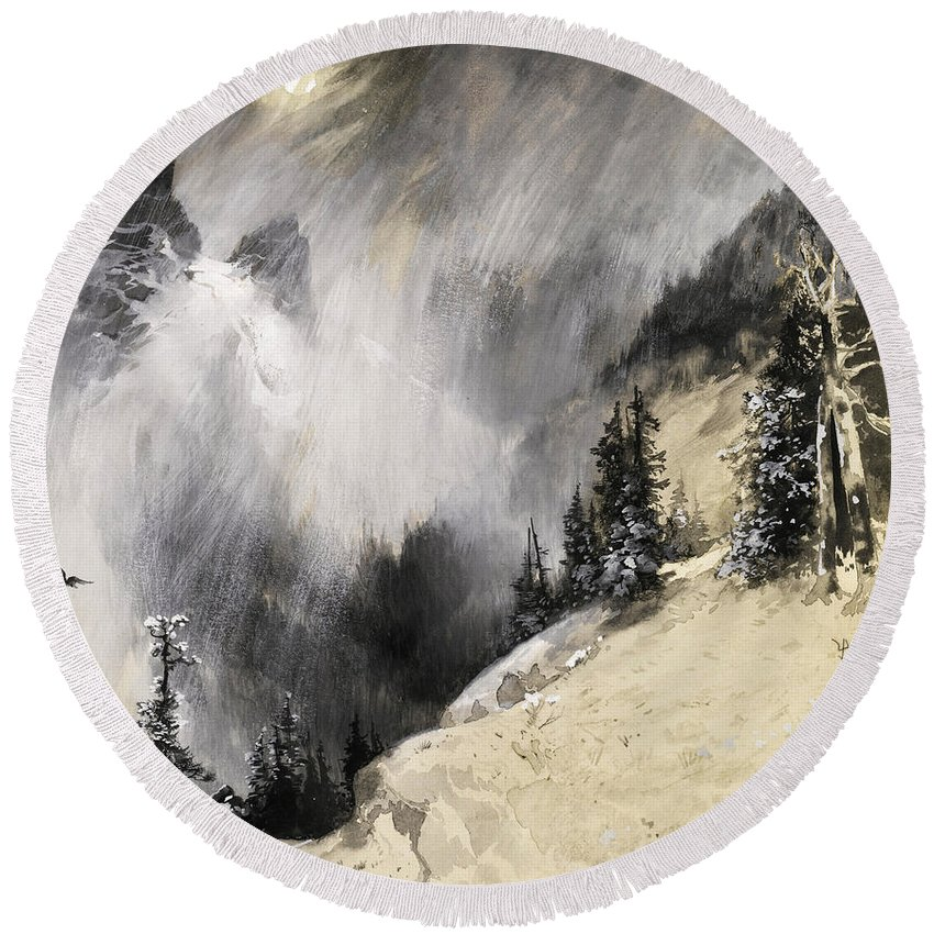 Thomas Moran Round Beach Towel featuring the painting The Falling Flakes Mountain Scene. Yosemite A Mountain Snowfall by Thomas Moran