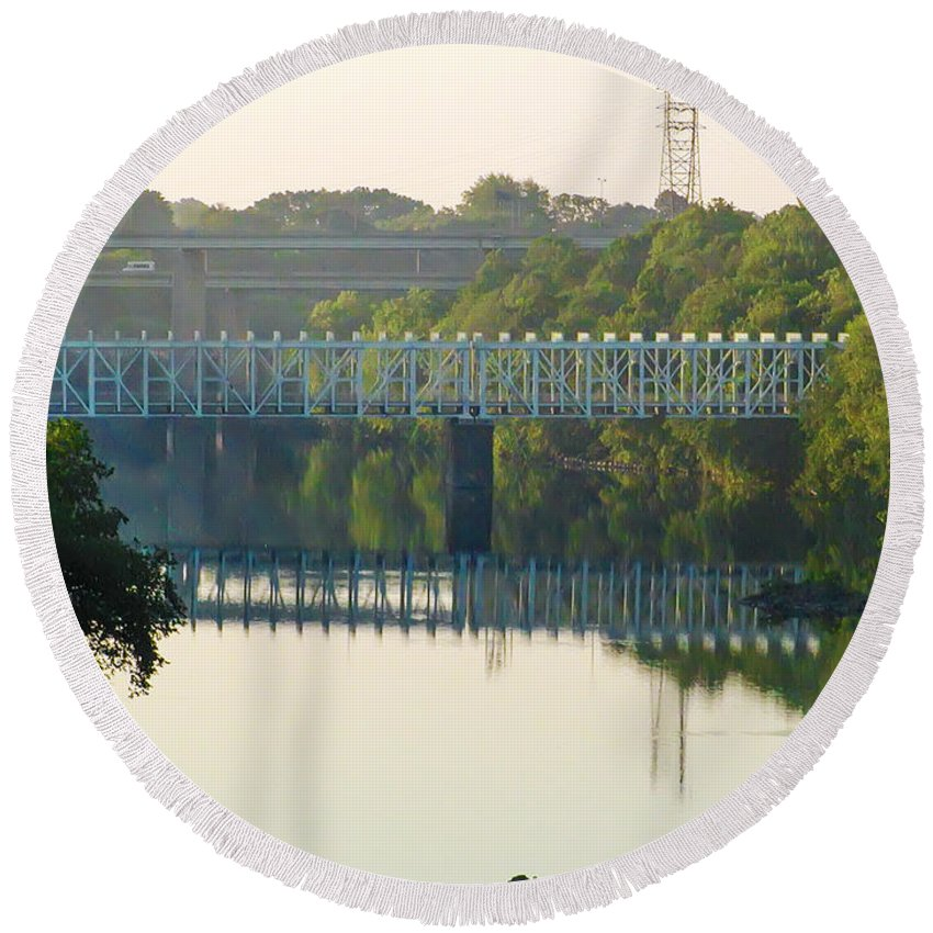 The Round Beach Towel featuring the photograph The Falls And Roosevelt Expressway Bridges - Philadelphia by Bill Cannon