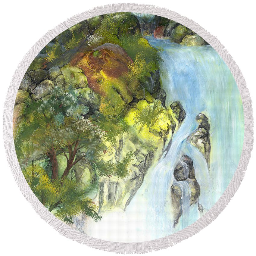 Waterfall Round Beach Towel featuring the painting The Falls by Sherry Shipley