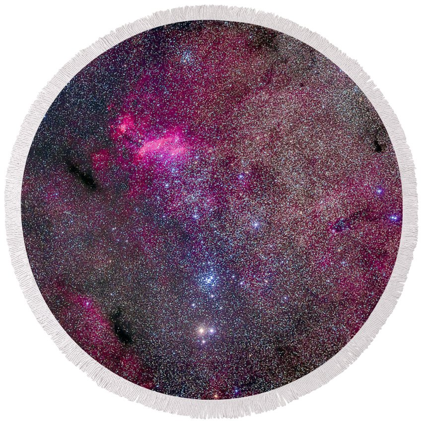 Emission Nebula Round Beach Towel featuring the photograph The False Comet Cluster Area by Alan Dyer