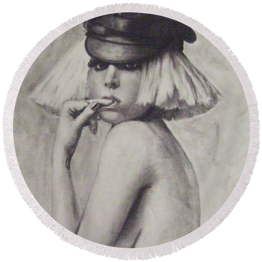 Lady Gaga Round Beach Towel featuring the drawing The Fame Monster by Cynthia Campbell