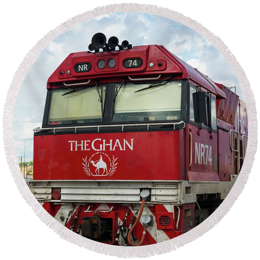 2017 Round Beach Towel featuring the photograph The Famed Ghan Train by Andrew Michael