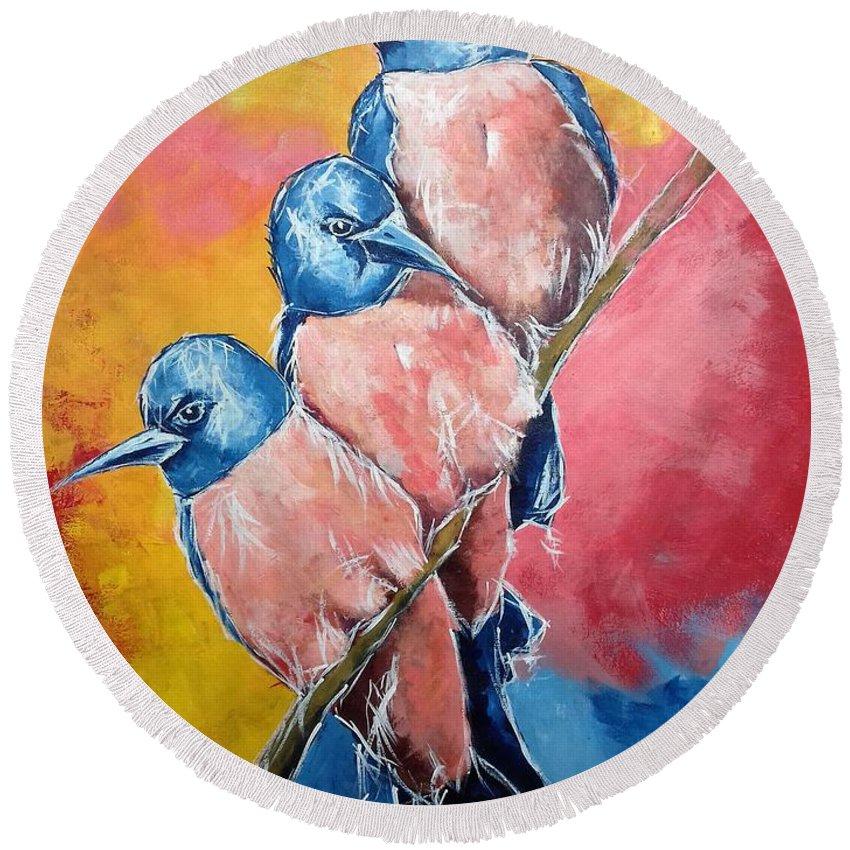 Birds Round Beach Towel featuring the painting The Family by Vijaykumar Shinde