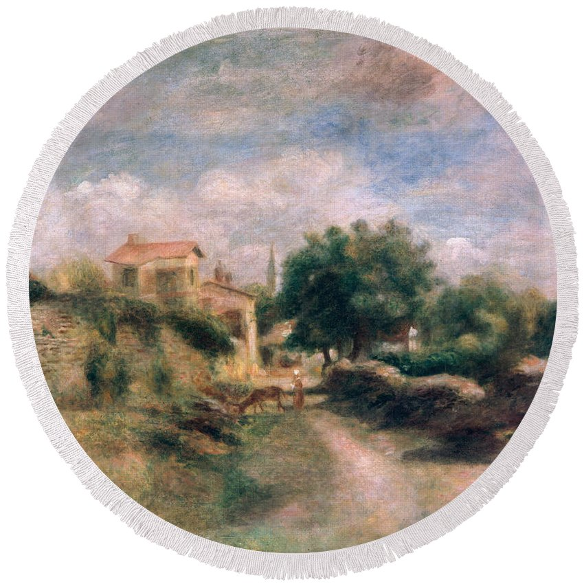 The Round Beach Towel featuring the painting The Farm by Renoir