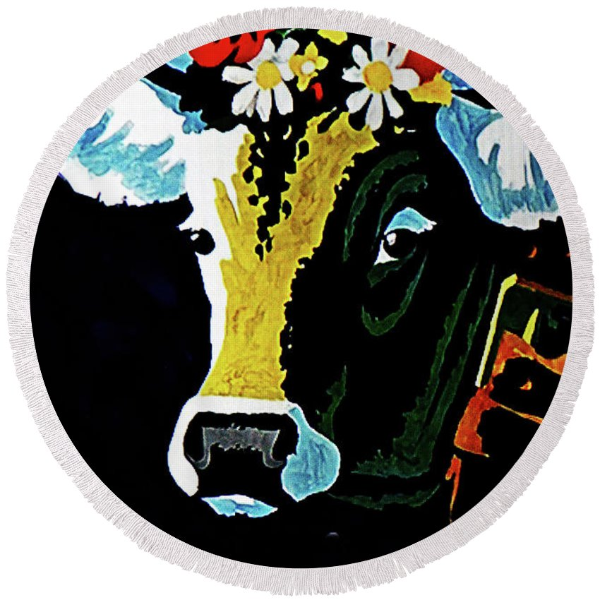 Cow Round Beach Towel featuring the painting The Farmer's Favorite by Allen Beilschmidt