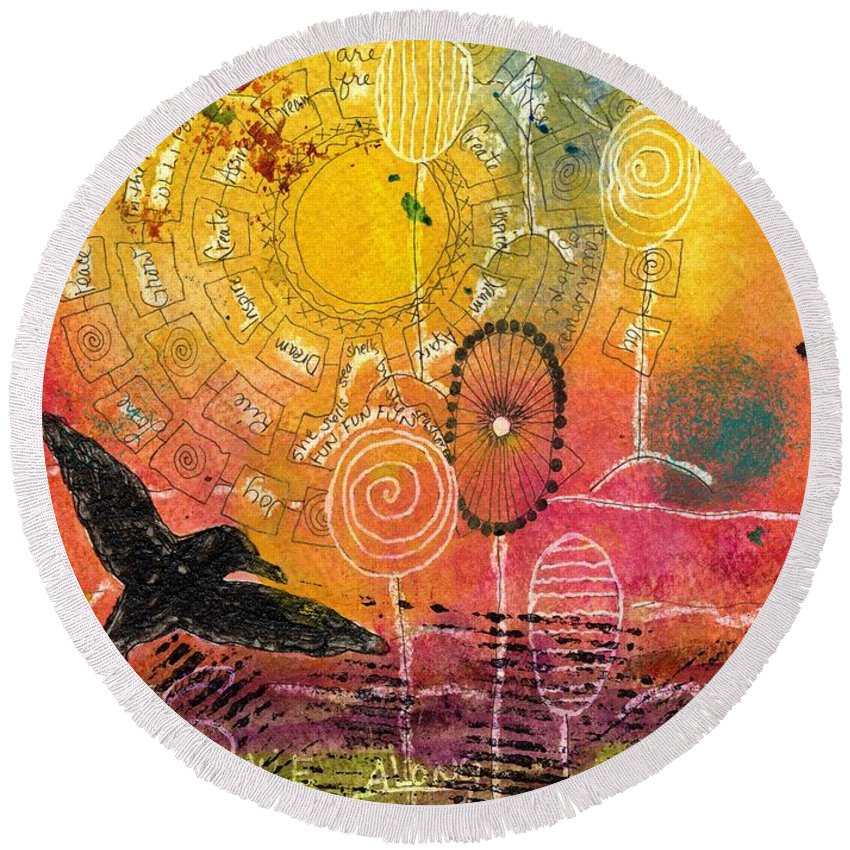 Acrylic Round Beach Towel featuring the mixed media The Ferris Wheel Of Life - Wip by Angela L Walker