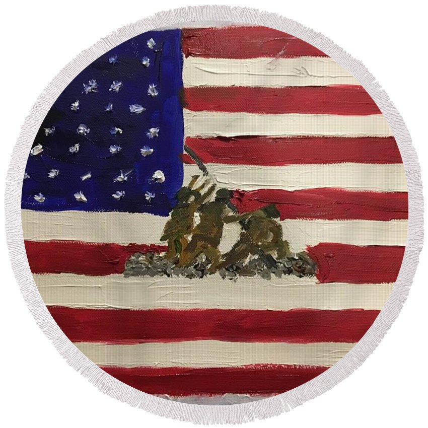American Flag Round Beach Towel featuring the painting The Few, The Proud by Lisa Cannon