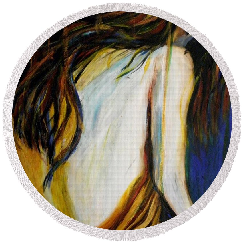#abstract Round Beach Towel featuring the painting The Fighter by Linda Waidelich