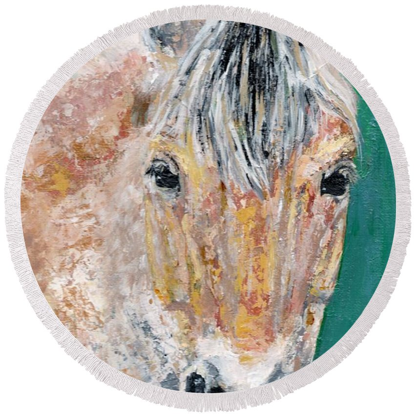Fijord Horse Round Beach Towel featuring the painting The Fijord by Frances Marino