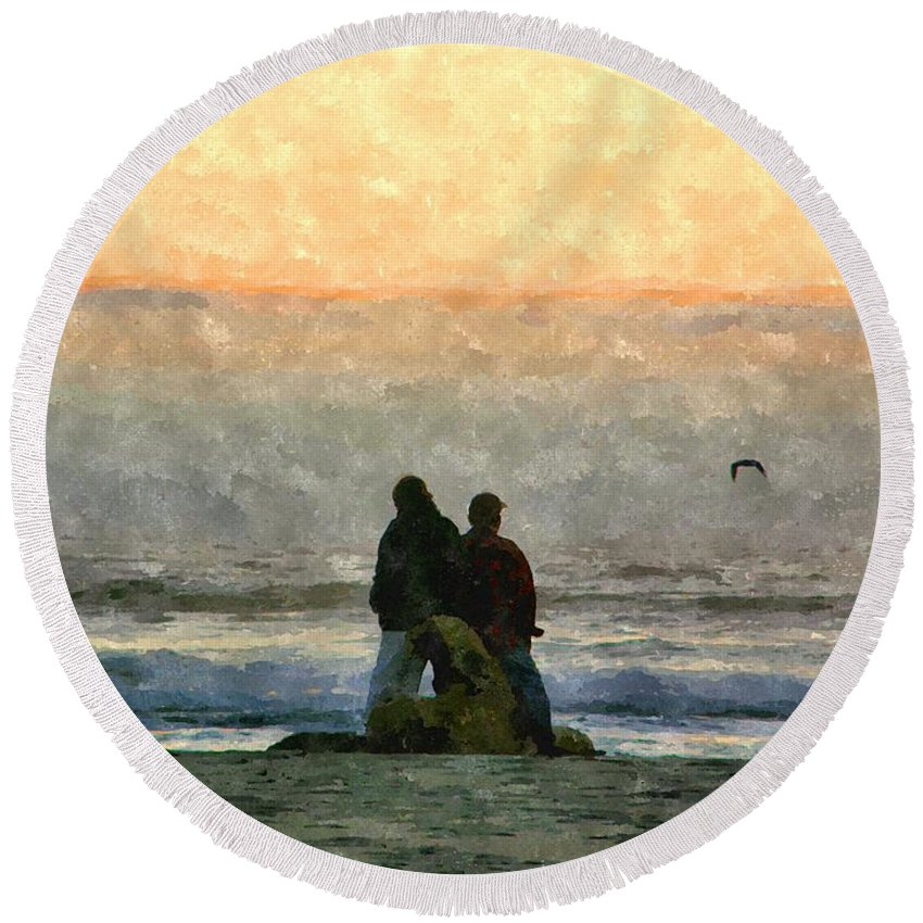 Cannon Beach Round Beach Towel featuring the photograph The Final Sunset by Image Takers Photography LLC - Carol Haddon