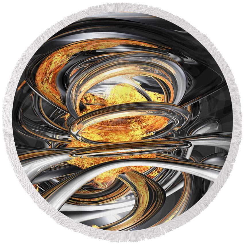 3d Round Beach Towel featuring the digital art The Fire Within Abstract by Alexander Butler