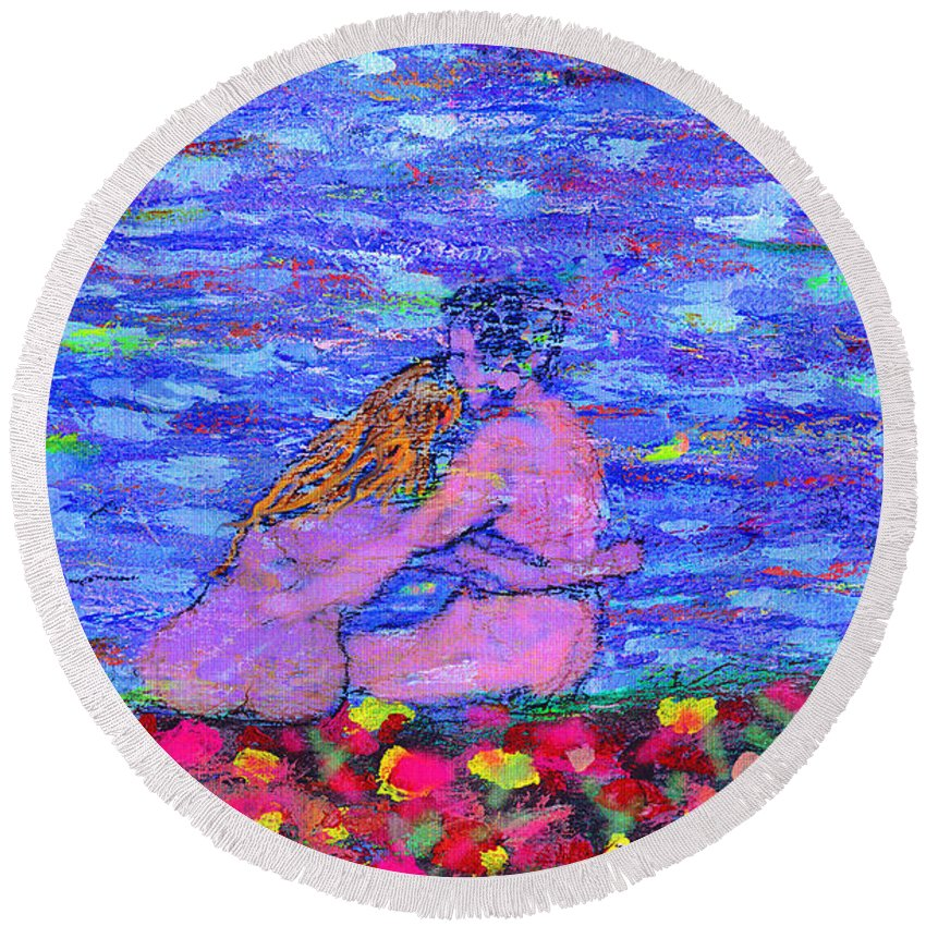 Lovers Round Beach Towel featuring the painting The First Autumn by Michael A Klein
