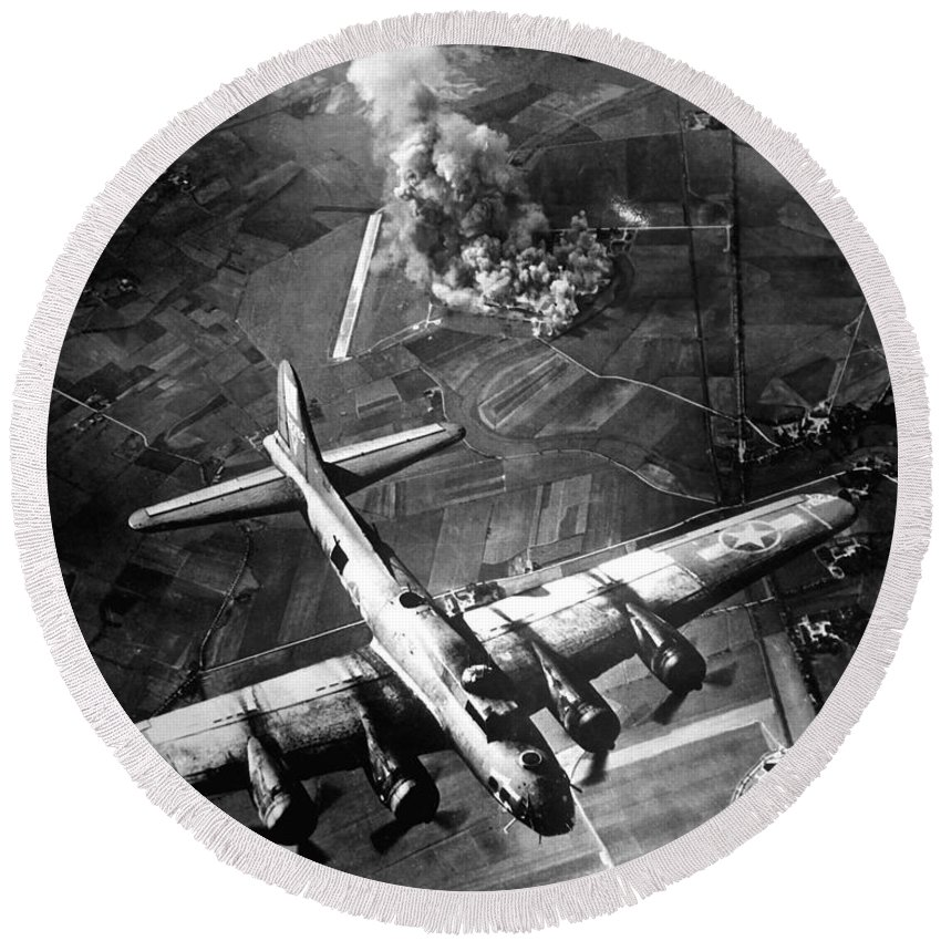 Flight Round Beach Towel featuring the photograph The First Big Raid By The 8th Air Force by Stocktrek Images