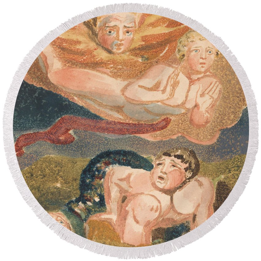 William Blake Round Beach Towel featuring the relief The First Book Of Urizen, Plate 22 by William Blake