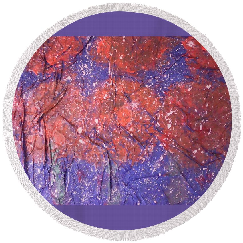 Abstract Art Round Beach Towel featuring the painting The First Snow On My Garden by Marcela Hessari