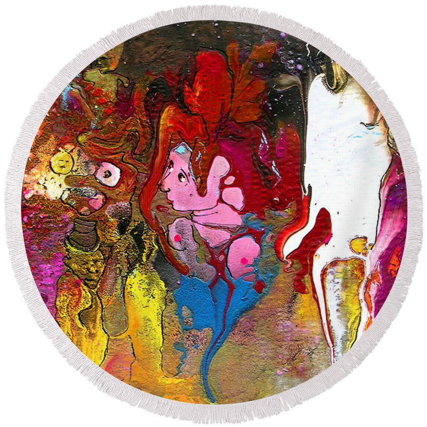 Miki Round Beach Towel featuring the painting The First Wedding by Miki De Goodaboom