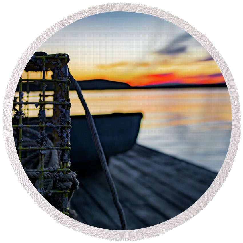 Sunset Round Beach Towel featuring the photograph The Fisherman's Life by John Gagnon