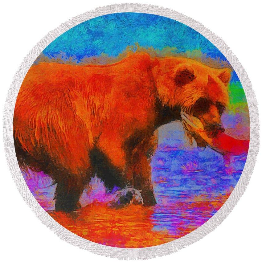 Bear Round Beach Towel featuring the digital art The Fishing Bear - Da by Leonardo Digenio
