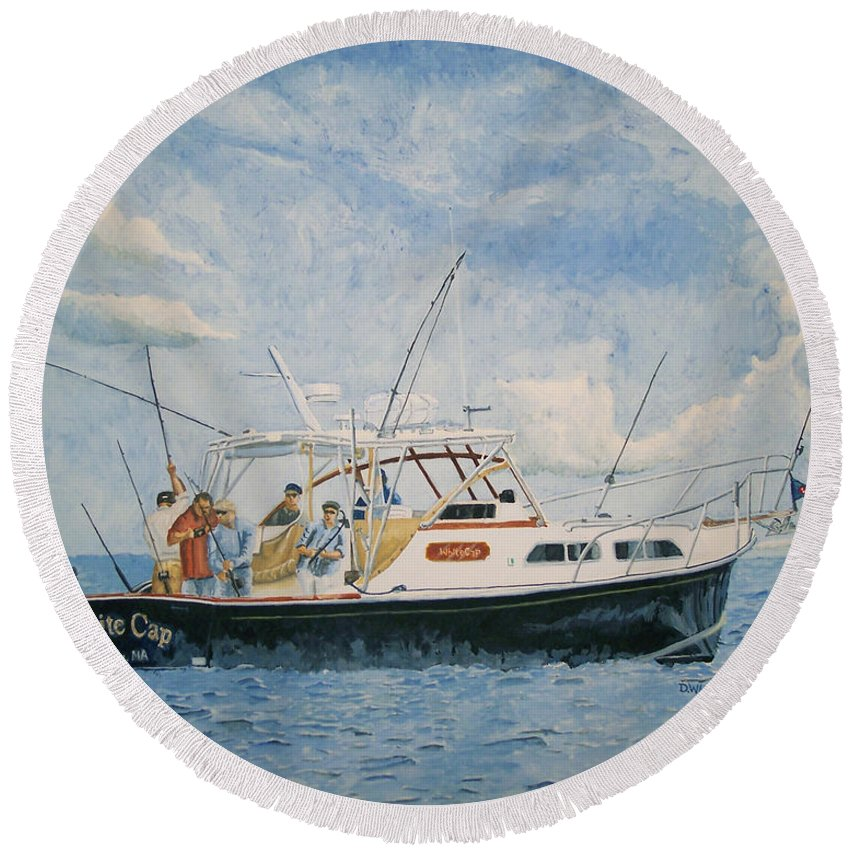 Fishing Round Beach Towel featuring the painting The Fishing Charter - Cape Cod Bay by Dominic White