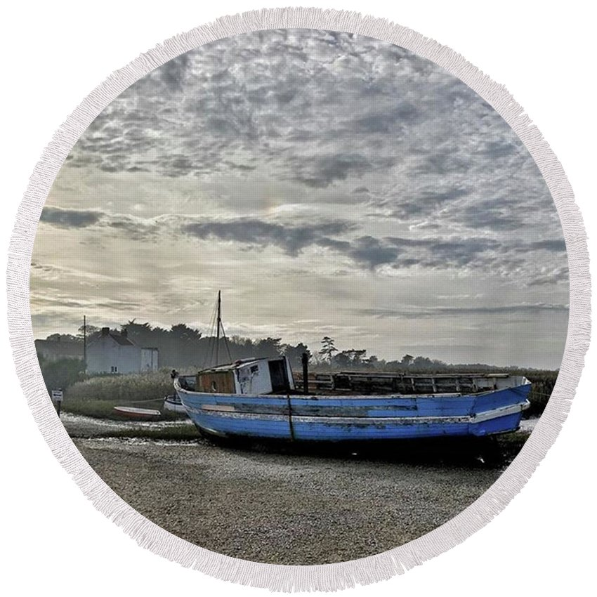Beautiful Round Beach Towel featuring the photograph The Fixer-upper, Brancaster Staithe by John Edwards