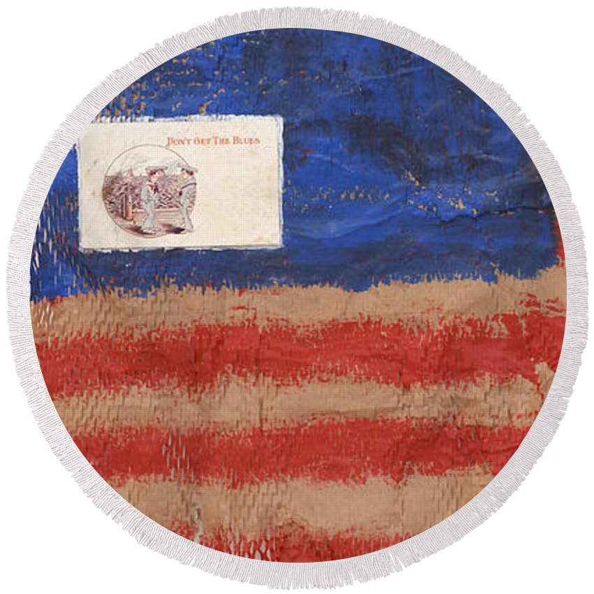 Flag Round Beach Towel featuring the mixed media The Flag by Jaime Becker