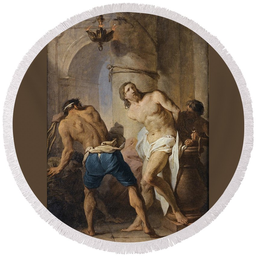 Pierre Subleyras Round Beach Towel featuring the painting The Flagellation Of Christ by Pierre Subleyras
