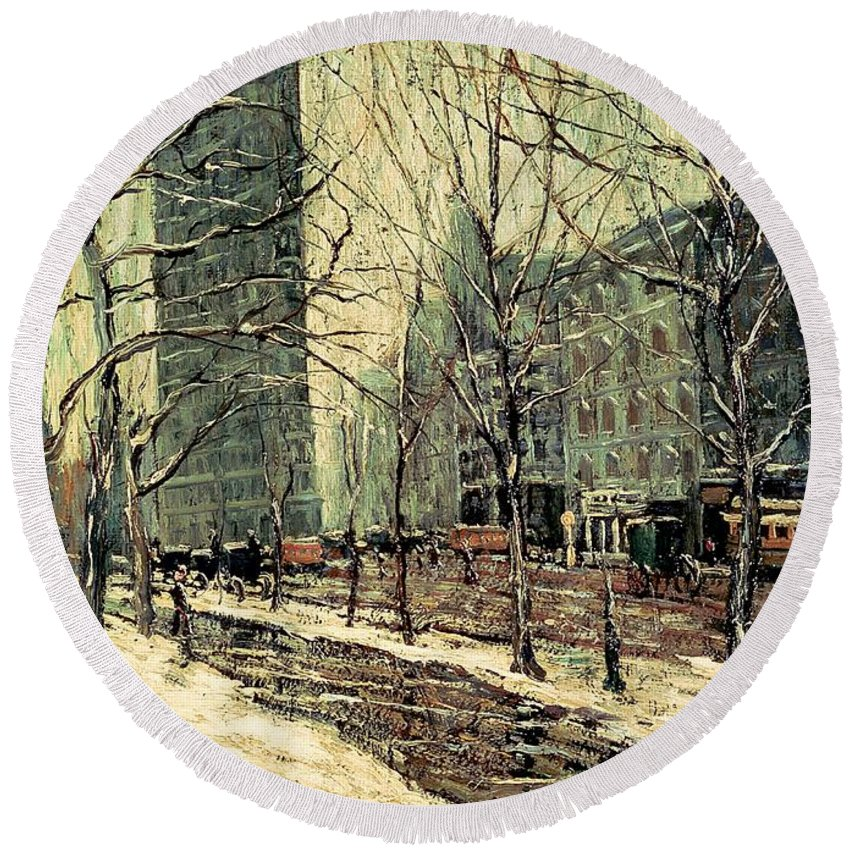 Painting Round Beach Towel featuring the painting The Flatiron Building 2 by Mountain Dreams