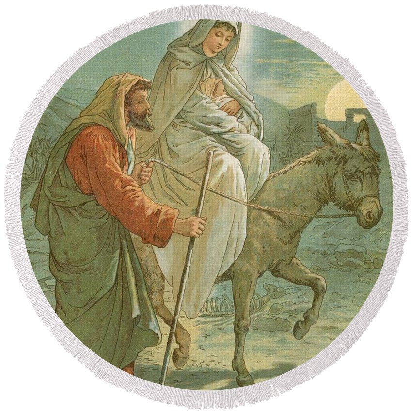 Bible; The Flight Into Egypt; Donkey; Jesus Christ; Baby; Joseph; Virgin Mary; Night; Desert Round Beach Towel featuring the painting The Flight Into Egypt by John Lawson
