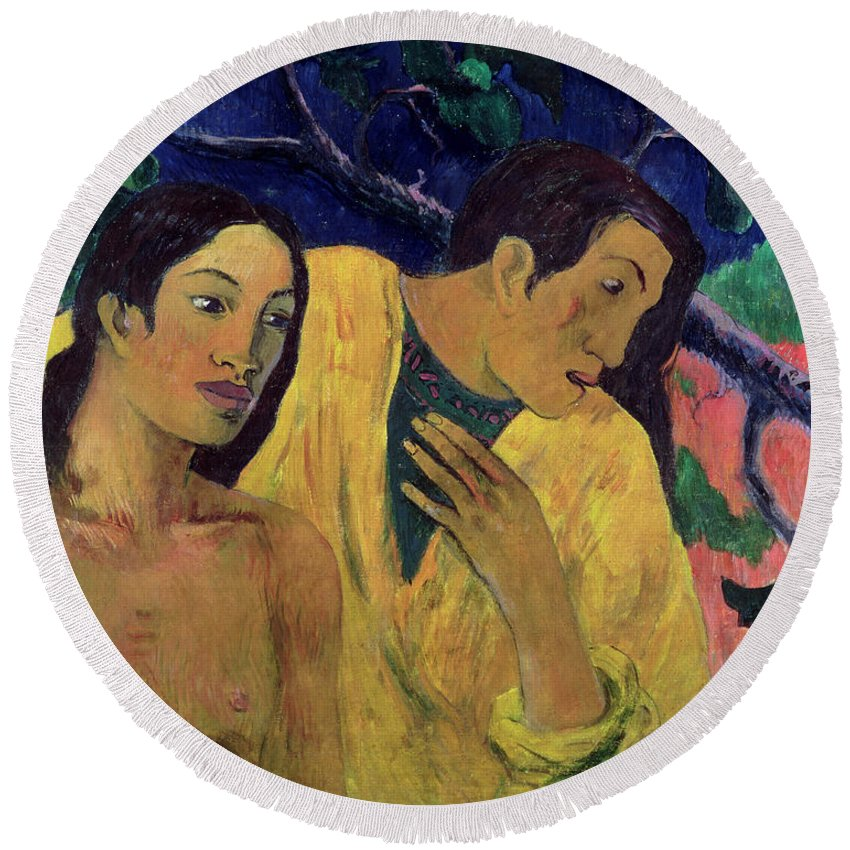 Flight Round Beach Towel featuring the painting The Flight by Paul Gauguin