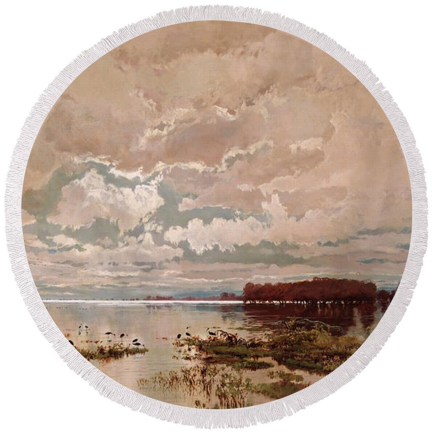 William Charles Piguenit Round Beach Towel featuring the painting The Flood In The Darling 1890 by William Charles Piguenit