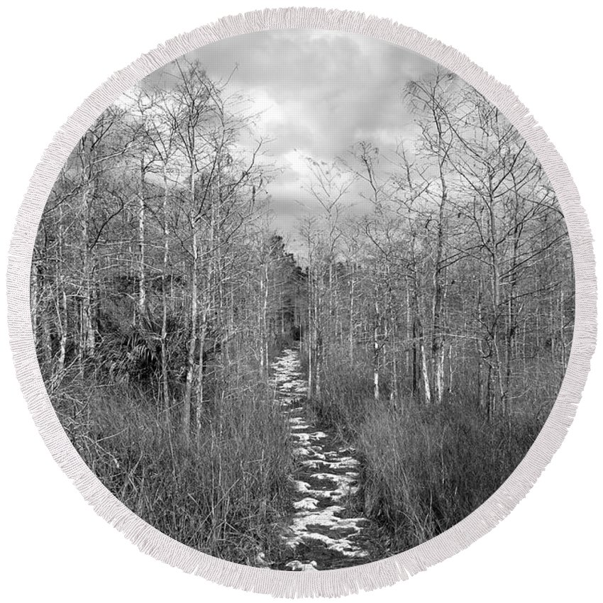 Everglades Round Beach Towel featuring the photograph The Florida Trail by David Lee Thompson