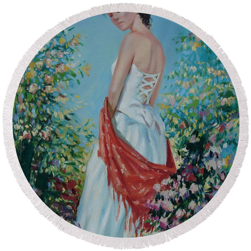 Oil Round Beach Towel featuring the painting The Florist In A Red Kerchief by Sergey Ignatenko