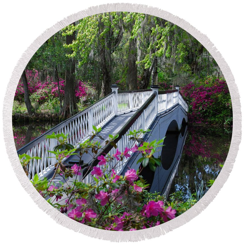 Flowers Round Beach Towel featuring the photograph The Flower Bridge by Susanne Van Hulst