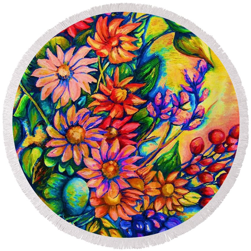 Beautiful Flowers.floral Bouquet Round Beach Towel featuring the painting The Flower Dance by Carole Spandau
