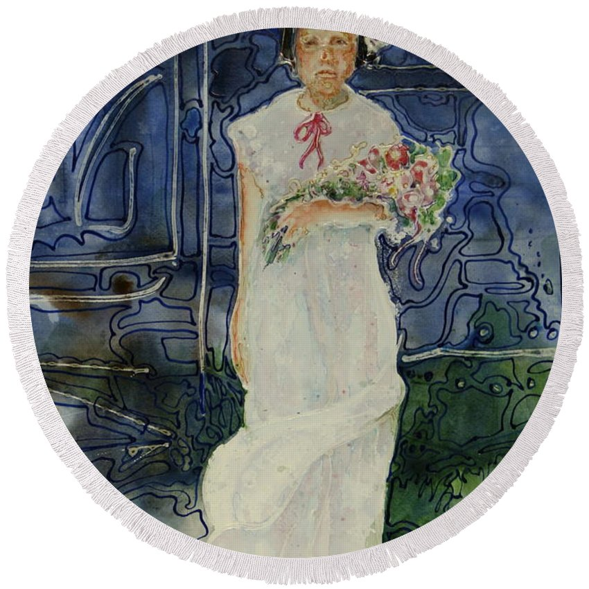 Flower Girl Round Beach Towel featuring the painting The Flower Holder by Shirley Sykes Bracken
