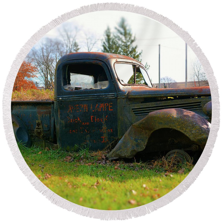 Pickup Round Beach Towel featuring the photograph The Flower Truck by Bonfire Photography