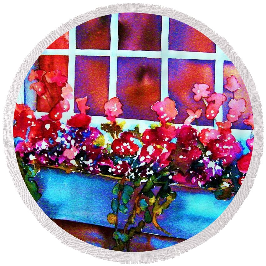 Flowerbox Round Beach Towel featuring the painting The Flowerbox by Carole Spandau