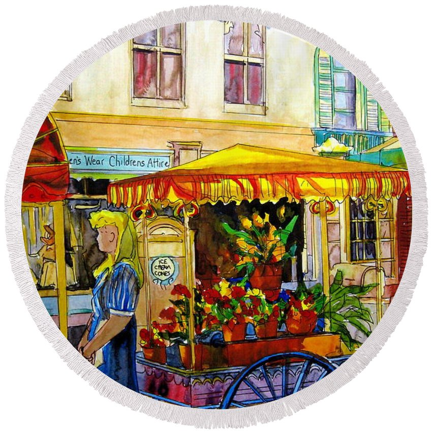 The Flowercart Round Beach Towel featuring the painting The Flowercart by Carole Spandau
