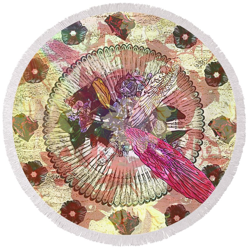Flowers Round Beach Towel featuring the digital art The Flowerclock by Helmut Rottler