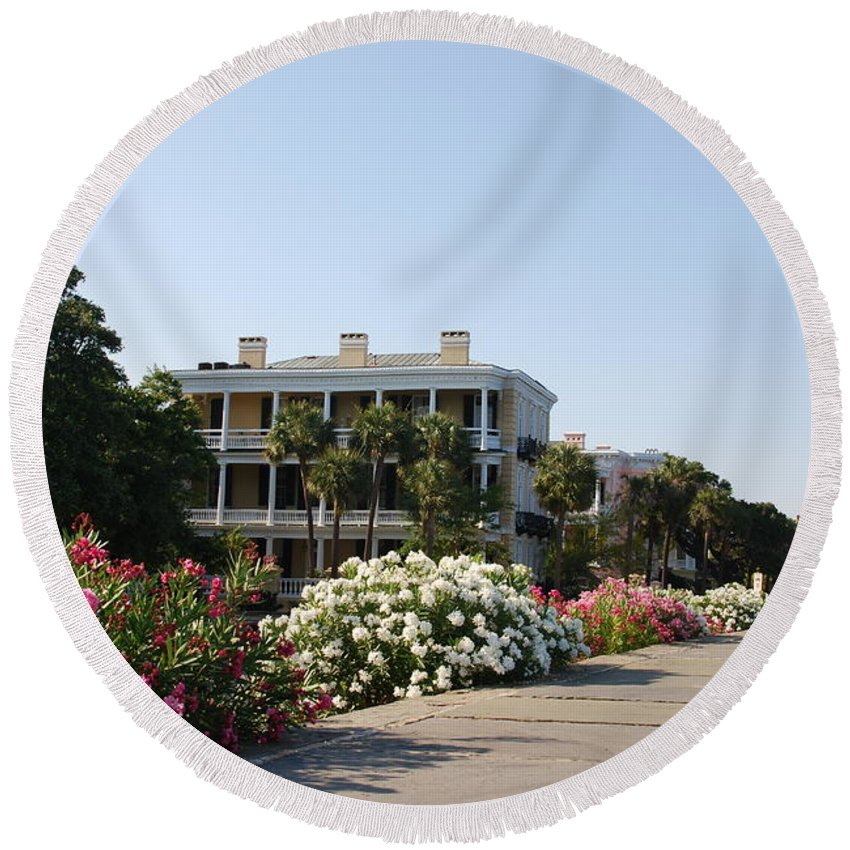 Photography Round Beach Towel featuring the photograph The Flowers At The Battery Charleston Sc by Susanne Van Hulst