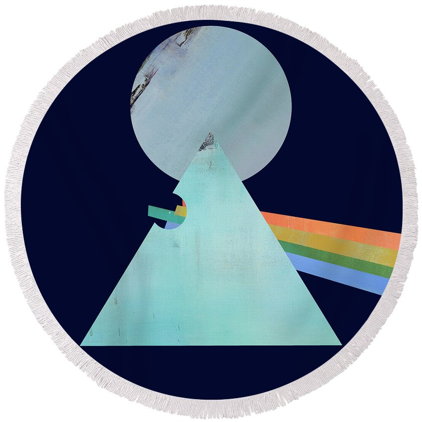 Pink Floyd Round Beach Towel featuring the digital art The Floyd's Dark Side by Jacquie Gouveia