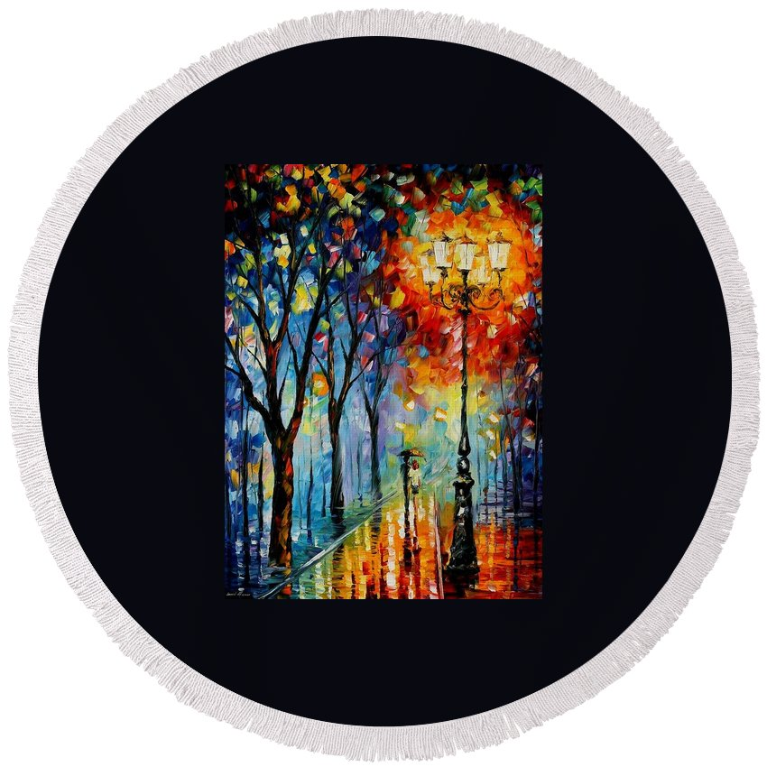 Afremov Round Beach Towel featuring the painting The Fog Of Dreams by Leonid Afremov