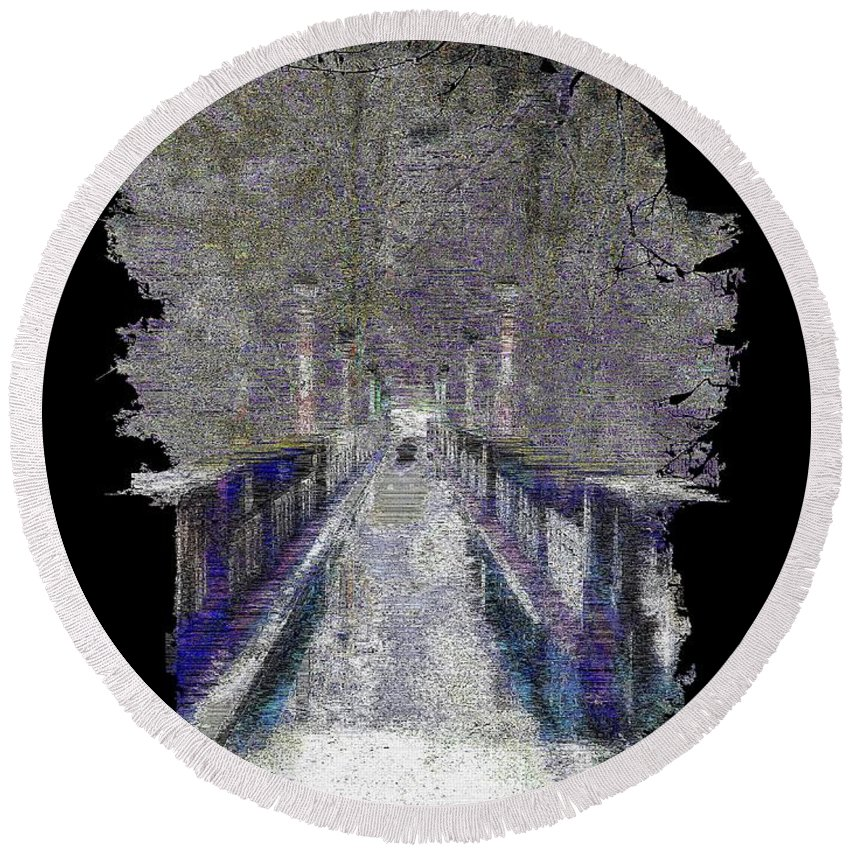Abstract Round Beach Towel featuring the digital art The Foot Bridge by Tim Allen