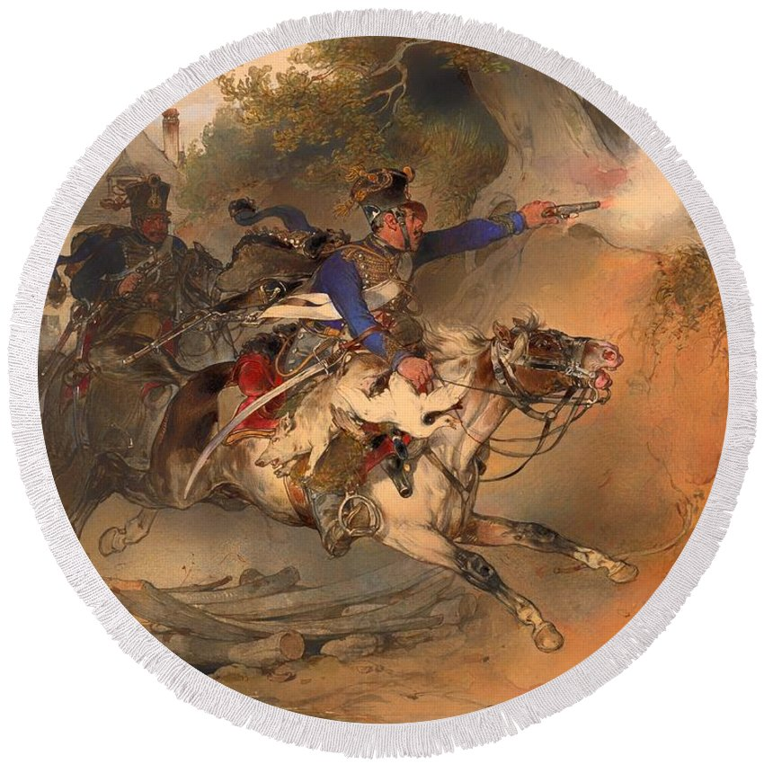 Painting Round Beach Towel featuring the painting The Foraging Hussar 1840 by Mountain Dreams