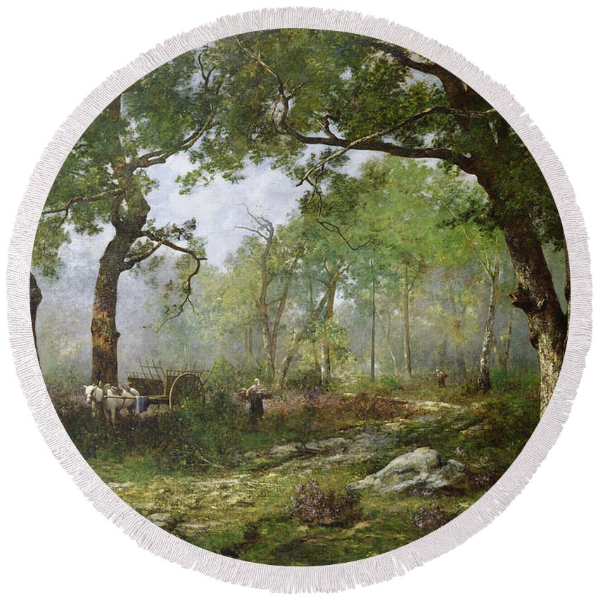 The Forest Of Fontainebleau Round Beach Towel featuring the painting The Forest Of Fontainebleau by Leon Richet