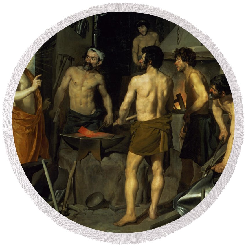 The Forge Of Vulcan Round Beach Towel featuring the painting The Forge Of Vulcan by Diego Velazquez