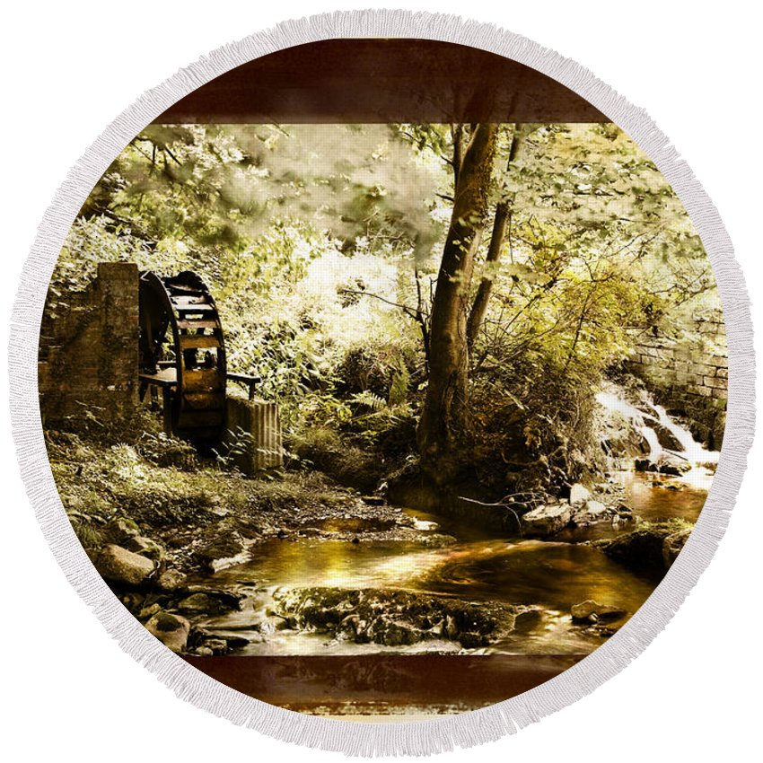 Watermill Round Beach Towel featuring the photograph The Forgotten Watermill Wheel by Mal Bray