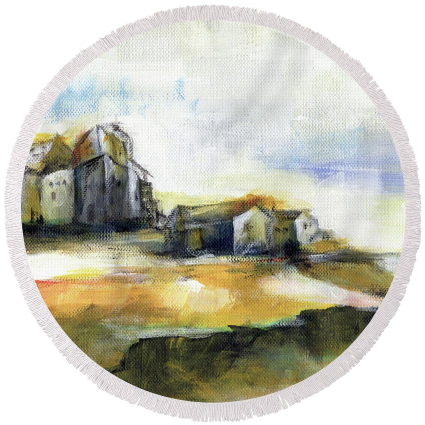 Abstract Landscape Round Beach Towel featuring the painting The Fortress by Aniko Hencz