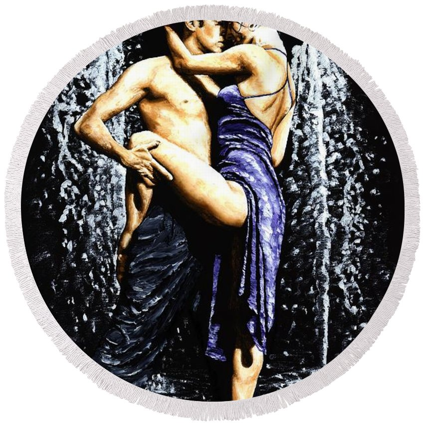 Tango Round Beach Towel featuring the painting The Fountain Of Tango by Richard Young
