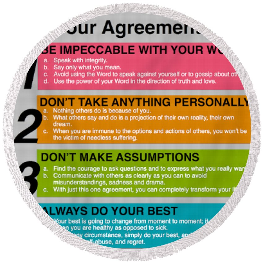 photo regarding The Four Agreements Printable referred to as The 4 Agreements Spherical Beach front Towel